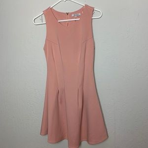 Sz S Blush Peach Nude Mini Short Skater Dress
